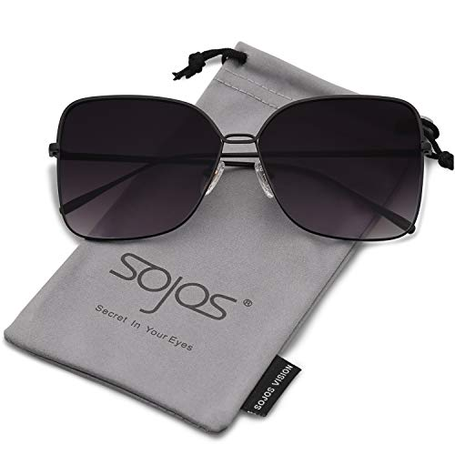 SOJOS Fashion Square Oversized Sunglasses Metal Frame Flat Mirrored Lens SJ1082 with Black Frame/Gradient Grey (Big Mens Sunglasses)