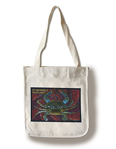 Lantern Press St. Michaels, Maryland - Blue Crab Paper Mosaic (100% Cotton Tote Bag - Reusable) -