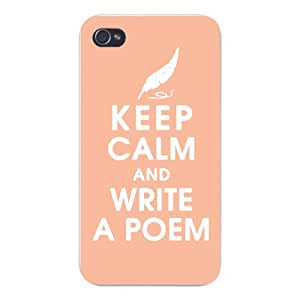Apple Iphone Custom Case 5 5s Snap on - Keep Calm and Write A Poem w/ Feather Quill Pen