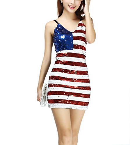 [Whitewed Womens Vertical Club Cocktail Fancy Party Dress Costume American Flag] (Costumes Usa)