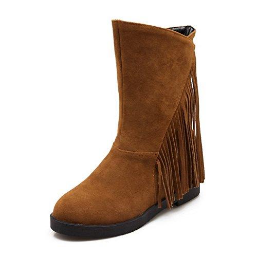Allhqfashion Mujeres Round Closed Toe Low-heels Frost Low-top Botas Sólidas Marrón