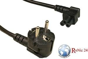Cable 1,80 m VDE YP-22/YC-14L negro Schuko CEE 7/7/IEC 60320 (C5) 90° ángulo de