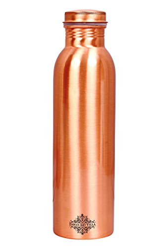 Indian Art Villa Copper Lacquer Coated Matte Finish water Bottle (50 OZ)