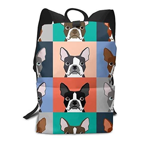 Bull Tile - Durable Polyester Daypack Boston Terriers Tile Bulldog Dog Set Pattern Travel Hiking & Camping Rucksack - Big Capacity Multipurpose Anti-Theft Shoulder Bag for Men Women Girls Boys