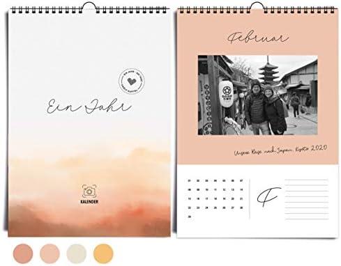 Edler DIN A4 Wandkalender immerwährend I ohne Jahr I von heaven+paper® | Fotokalender Desert Mood in warmen Farben, modern & elegant | Idealer Jahreskalender zum selbst gestalten & verschenken