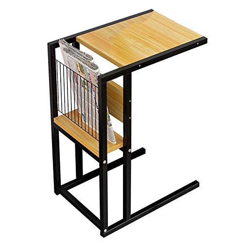 - MMAXZ Side Table with Upgrade Side Storage Pocket | Console Laptop Desk with Coffee Tray | Curve Wood Craft, Premium Birch Wood, Anti-Slip Bottom (Color : A)