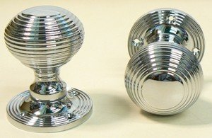 Ironmongery World Polished Chrome Reeded Queen Anne Beehive Mortice ...