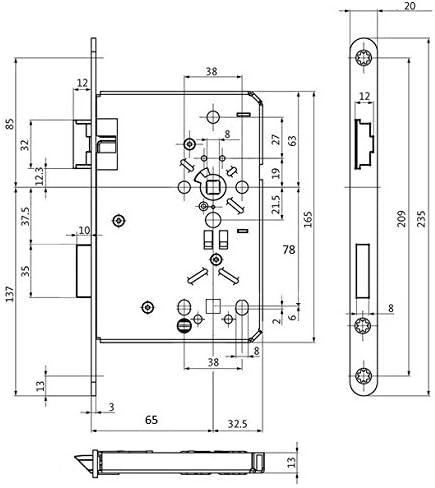 DIN Rechts incl SN-TEC/® Montageset BKS Badezimmer T/ürschloss mit Vierkant mit Fl/üsterfalle Kl.III BAD 65//78//8 mit Edelstahl Stulp 20 x 235mm abgerundet