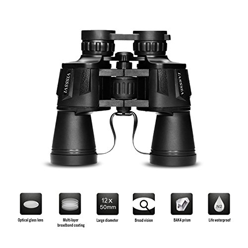 VISSSVI 12x50 Binoculars for Adults,Compact HD Full-Size Professional Zoom Binoculars Telescope for Bird Watching SightseeingTravel Hunting Sports Football-BAK4 Prism FMC Lens (with Case and Strap)