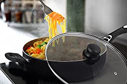 Nonstick Jumbo Cooker / Sauté Pan Grey 11 inches - Deep Frying Pan Cookware with Glass Lid - Dishwasher Safe by Utopia Kitchen