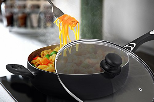 Utopia Kitchen Aluminum Nonstick 11 Inches Jumbo Cooker - Sauté Pan - Deep Frying Pan with Glass Lid - 4.6 Quart - Dishwasher Safe by Utopia Kitchen (Image #3)