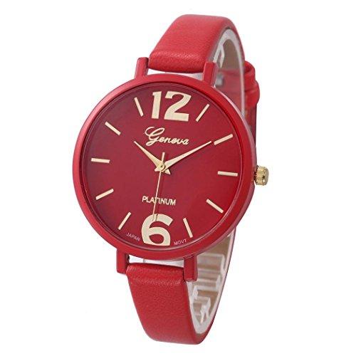 Tenworld Women Girl's Gift Faux Leather Analog Quartz Wrist Watches (Red)