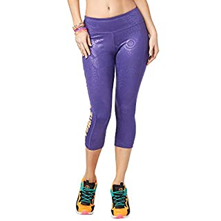 Zumba Metallic Print Capri Leggings Fitness Compression Dance Workout Leggings for Women, Grape, S