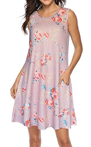 ETCYY Women's Summer Casual Sleeveless Floral Printed Swing Dress Sundress with Pockets Khaki (Sundress Sleeveless Dress)