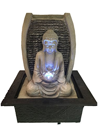 Buddha In Lotus Position Indoor Water Feature with LED Light 21cm x 18cm x 25cm