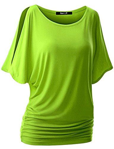 Drape Kimono Off Shoulder - Amstt Womens Short Sleeve Off Shoulder Boat Neck Dolman Drape Top Shirts (XL, Green)