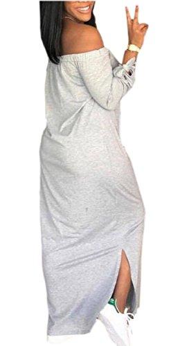Sleeve Shoulder Off Loose Jaycargogo Dress Baggy Long Maxi Womens Casual Grey wHqxxfIn