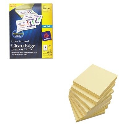 KITAVE8873UNV35668 - Value Kit - Avery 2-Side Printable Clean Edge Business Cards (AVE8873) and Universal Standard Self-Stick Notes (UNV35668)