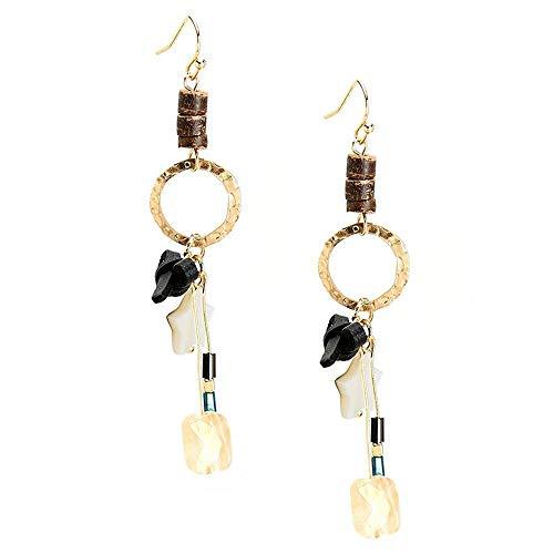 Weiwei Men's Earrings men's ear nails Natural Stone Alloy Earrings 75mm original pendant earrings lady bow Earrings - 75mm Earrings