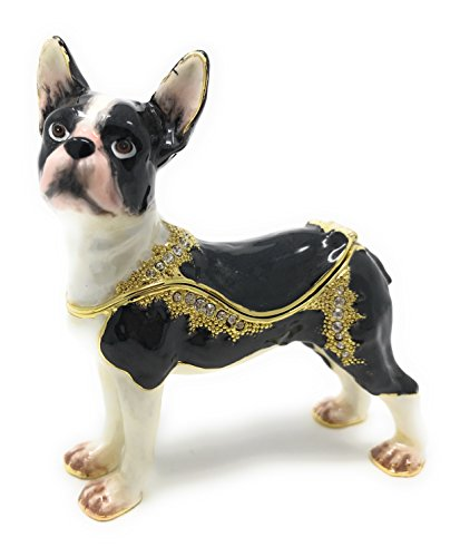 Kubla Crafts Enameled Boston Terrier Dog Trinket Box, Accented with Austrian Crystals