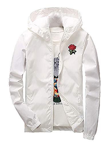 (ZOXO Men's Rose Floral Windbreaker Hooded Jacket Lightweight Solid Color Casual Zip-up Flower Coat Large White)