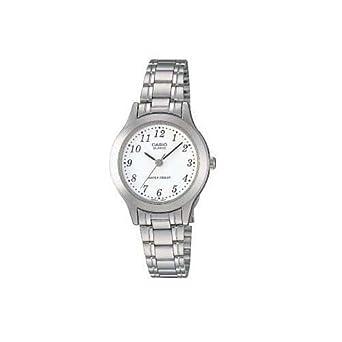 Casio LTP-1128A-7BEF - Reloj analógico de cuarzo para mujer con correa de acero inoxidable, color plateado: Amazon.es: Relojes