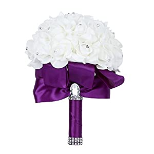 Febou Wedding Bouquet, Big Size Purple Bridesmaid Bouquet Bridal Bouquet with Crystals Soft Ribbons, Artificial Rose Flowers for Wedding, Party and Church (Purple Big Size) 48