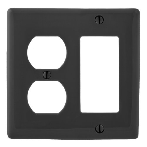 Bryant Electric NP826BK 2-Gang 1 Duplex 1 Decorator/GFCI Wall Plate, Black - Duplex Out Wall Plate