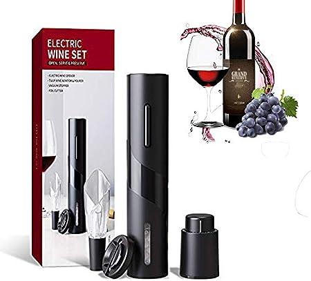 Tiamu Sacacorchos eléctrico, abrebotellas, abrebotellas de vino eléctrico, kit con cable de carga USB, incluye cortador de láminas, vertedor de vino y tapón de vacío
