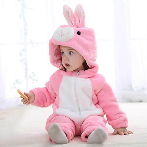 Michley Bambini Pagliaccetti Unisex neonata con Cappuccioanimali di Flanella per 0-3Anni 6