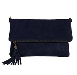 a743cd76b7859 ImiLoa Leder Clutch dunkel blau kleine Ledertasche Wildleder Umhängetasche  Abendtasche Partytasche Handtasche Lederhandtasche 24-bue