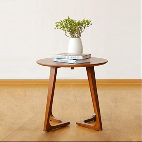 - L-Life End Tables Side Table Side Table Round Coffee Table Suitable for Small Space Solid Wood Sofa Side,606060 cm (Color : Walnut Color)