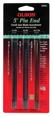 Olson Scroll Saw Blade Assortment Pin End, Skip Tooth 5 '' 10 Tpi, 15 Tpi, 18.5 Tpi Card Of 18 by OLSON SAW