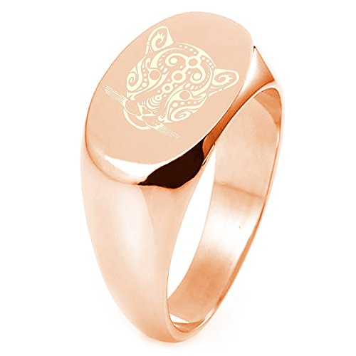 Rose Gold Plated Sterling Silver Mayan Jaguar Rune Symbol Engraved Oval Flat Top Polished Ring, Size 4 by Tioneer