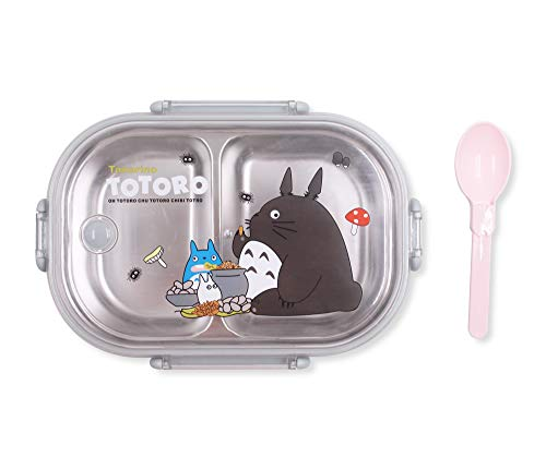 Finex My Neighbor Totoro Gray Bento Box Container Set with Clear Lid & Spoon