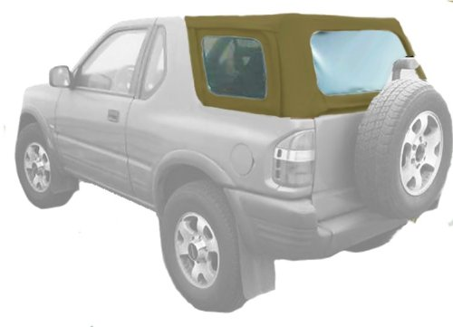 Acme C730/Charc-ST1012 Buckskin on Black Pinpoint Vinyl SUV Soft Top for Isuzu ()