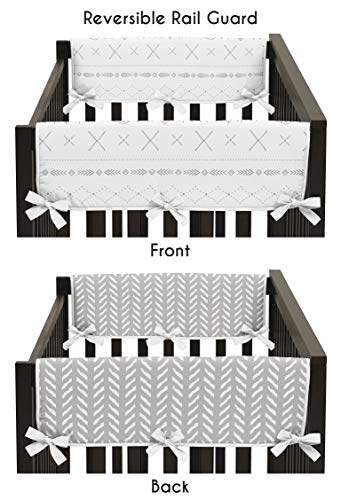 Friends Crib Cover - Sweet Jojo Designs Grey and White Boho Tribal Herringbone Arrow Baby Unisex Boy or Girl Side Crib Rail Guards Baby Teething Cover Protector Wrap for Gray Woodland Forest Friends Collection - Set of 2