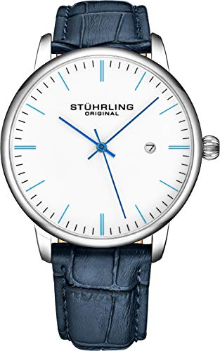 (Stuhrling Original Mens Watch Calfskin Leather Strap - Dress + Casual Design - Analog Watch Dial with Date, 3997Z Watches for Men Collection (White Blue))
