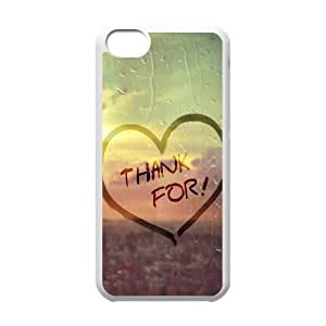 iPhone 5c Cell Phone Case White Thank For Love Shape Dew Glass Background Mjbxo