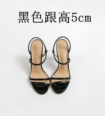 Yardas 5cm Alto Punta Abierta Con Black Mujer Fino Zapatos Pequeñas Verano Vivioo Tacón Sandalias Femenina De 7qIaZwBR