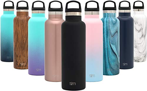Simple Modern 32oz Ascent Water Bottle - Stainless Steel Hydro Swell Flask w/Handle Lid - Metal Double Wall Vacuum Insulated Black Reusable Tumbler Aluminum 1 Liter Cold Leak Proof -Midnight Black