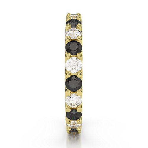 Or jaune 18 carats 0,67 CT G-H/VS sertie de diamants ronds Coupe Noir éternité Bague Agdr-1105