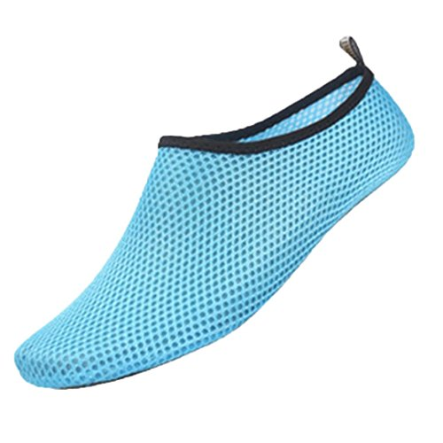 KEERADS Damen Badeschuhe Aquaschuhe Strandschuhe Wasserschuhe Schwimmschuhe Barfuß Schuhe Yogaschuhe Sportschuhe Hellblau