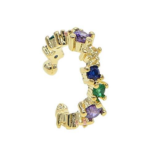 ATJMLADYJEWELRY 1 Piece No Piercing Clip On Earring Rainbow Cz Cuff Earrings Fashion Jewelry