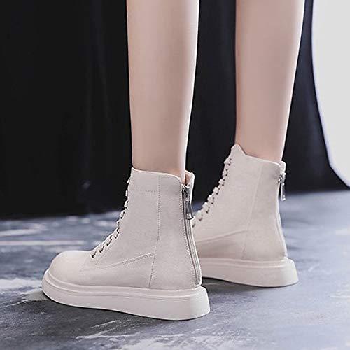 IWxez Damen Combat Stiefel PU (Polyurethan) Herbst & & & Winter Casual Stiefel Flache Ferse runde Zehe Mid-Calf Stiefel Schwarz Beige 096f26