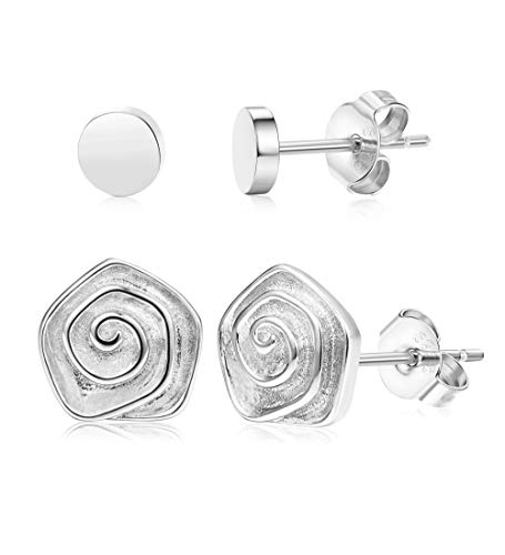 (Sllaiss 2 Pairs 925 Sterling Silver Rose Flower Stud Earrings For Women Girls Flat Dot Earring Set Mothers Day Jewelry Gift Silver Tone)