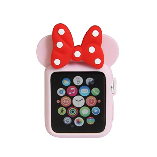Navor Soft Silicone Protective Case for Cartoon Mouse Ears Compatible for Apple Watch 42mm Series 1 2 3 [Light Pink Red]