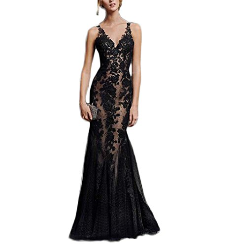 Chupeng Formal Party Open Sexy Mermaid Evening Black Long Prom Gown 2017 Dress Applique Back Lace Black rCwrnfzqx