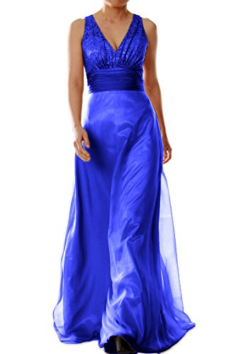 MACloth Women V Neck Chiffon Lace Long Bridesmaid Dress Wedding Party Formal Gown Azul Real