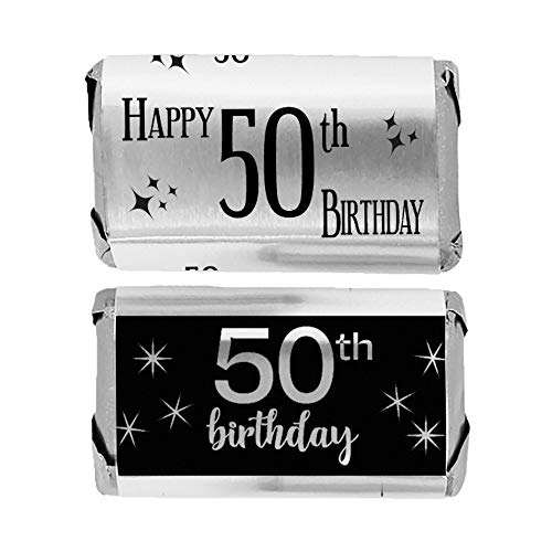 (Black and Silver 50th Birthday Mini Candy Bar Wrappers | Shiny Foil | 45 Count)